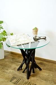 アジアン家具 バリ家具 ♪チーク ヴィオラ ガラステーブル(ダークブラウン)♪ サイドテーブル ガラステーブル 丸テーブル 花台 木製 チーク材