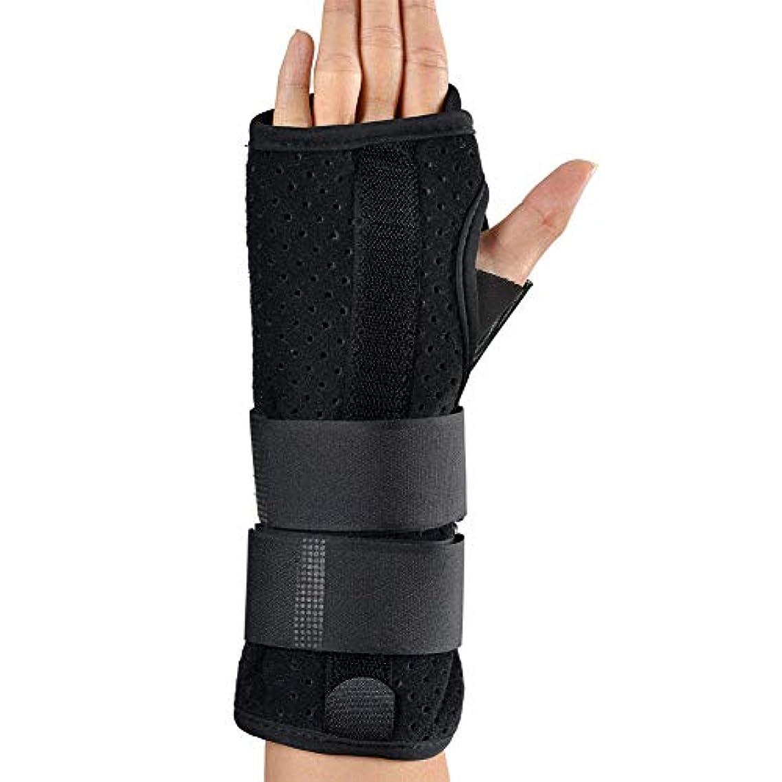 ベルベット経歴実験的手首矯正ベルトアルミプレートアジャスタブル手首捻挫固定式通気性指伸ばし副木(黒),Righthand,L