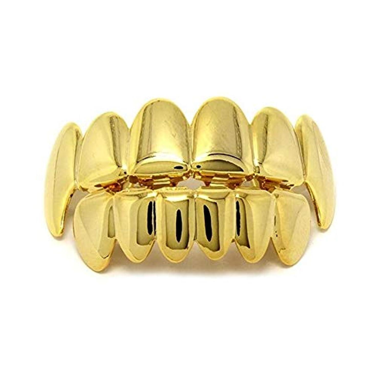 シャッター地質学ハッピーヨーロッパ系アメリカ人INS最もホットなヒップホップの歯キャップ、ゴールド&ブラック&シルバー歯ブレースゴールドプレート口の歯 (Color : Gold)