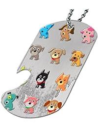 カラーCute Puppies – ボトルOpener犬タグネックレス