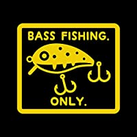 BASS FISHING ONLY カッティング ステッカー イエロー 黄