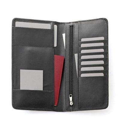 スムース革(牛本革)パスポートケース(財布付) ブラック