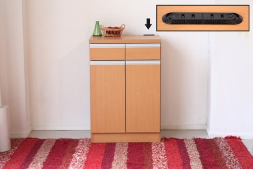 【日本製家具】60 カウンター 幅60cm 高さ89cm 食器棚 キッチン ダイニング リビング 収納 食器 小物 コンセント付 シンプル (ナチュラル) ATO-271-NA
