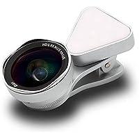 LIEQI LQ-035II 広角レンズ iphone スマホ レンズ セルカレンズ 自撮りライト 0.4-0.6x 広角レンズ 15x マクロレンズ 全機種対応 自撮り棒不要 iPhone Android タブレット (シルバー)