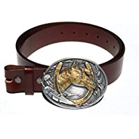 Horseshoe Gold Enamel Removable Belt Buckle & Solid Classic Brown Leather Belt Combo
