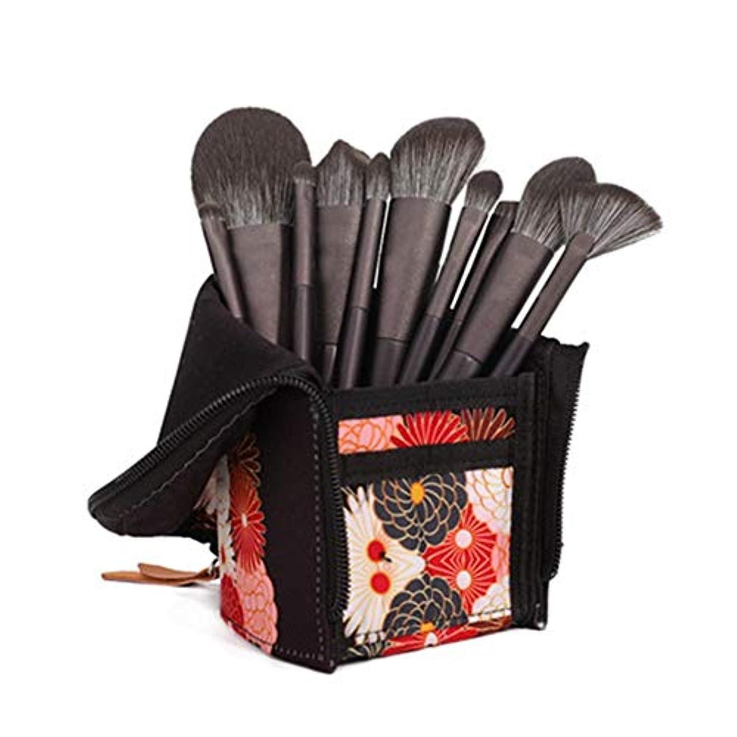 疼痛ペフ回答10個のメイクブラシセット、ブラッシュアイシャドウ財団フルセットメイクブラシレーヨン美容ツールを簡単にきれいな、簡単にキャリー