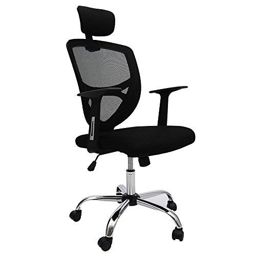 オフィスチェア メッシュ パソコンチェア クッション 可動式枕付 静音キャスター (ブラック)