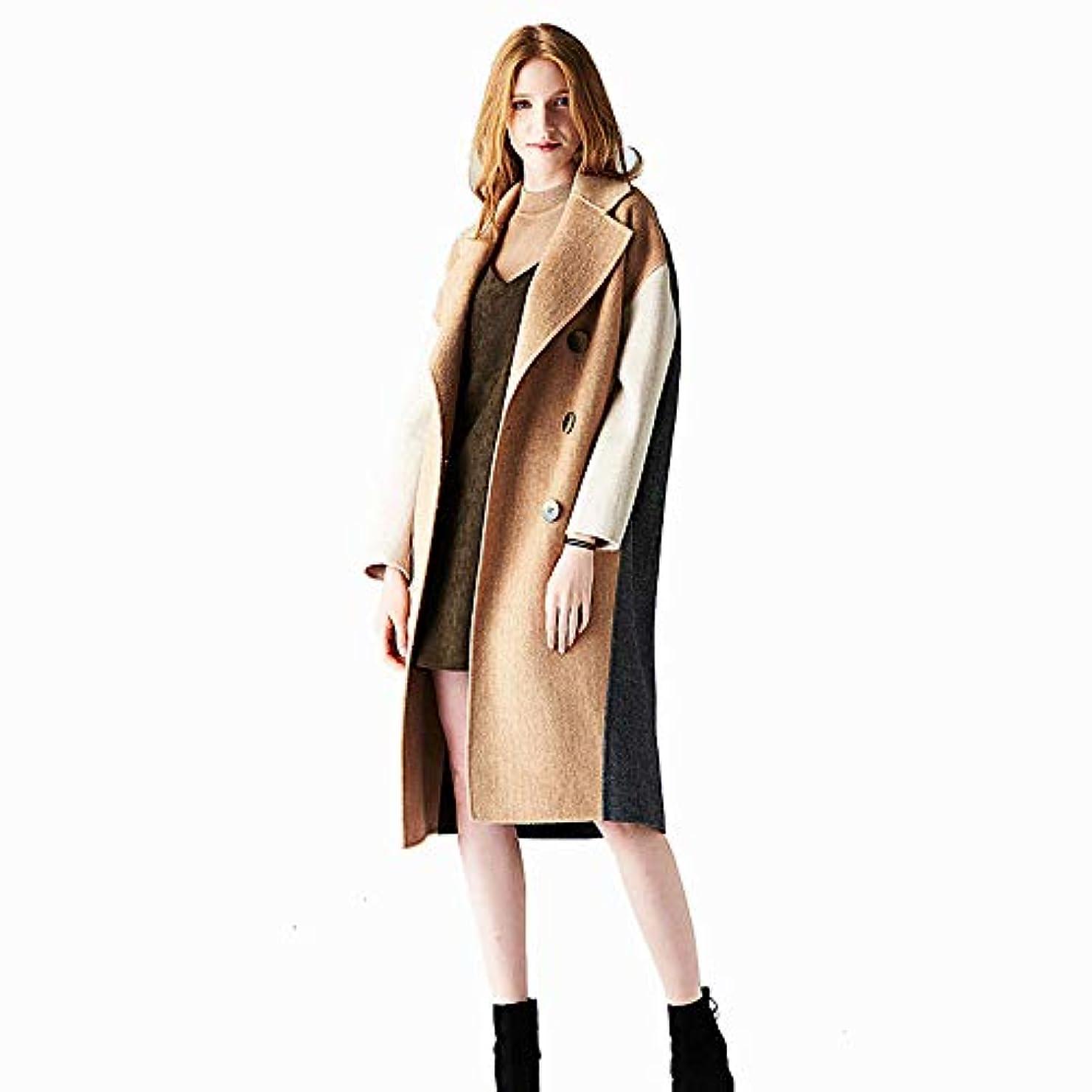 緯度応用の頭の上ウールコート、秋と冬の両面ウールコートヘリンボーンウールコートレディースジャケットレディース?コートレディースウインドブレーカージャケット,ブラウン,L