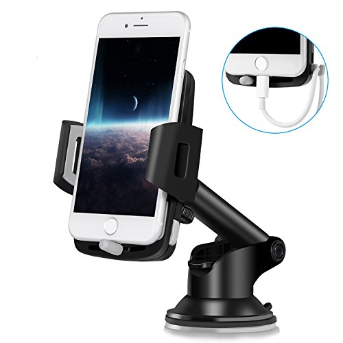 Toplus スマホスタンド 車載ホルダー 吸盤式 幅5.5cm?9.4cmの多機種対応(iphone8/iphoneX/XperiaX/GalaxyS8/Note8にも対応) 自由調節可能 360度回転可能