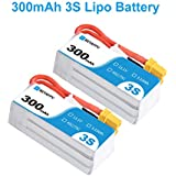 BETAFPV 2pcs 300mAh 3S Lipo Battery HV Battery 45C/75C 11.1V XT30 18AWG Silicone Wire for Beta75X 3S Micro Quadquaptor Whoop Drone FPV Racing Drone