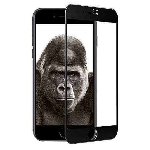 TCJOY iPhone8 強化ガラス 液晶保護フィルム ゴリラガラス素材 3D曲面加工 全面保護 ブラック
