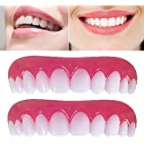 2枚の一時的な化粧品の歯の入れ歯、歯と化粧品、シミュレートされたアッパーカフ、ホワイトニングの歯、スナップキャップ、インスタントの快適さ、ソフトで完璧なベニア