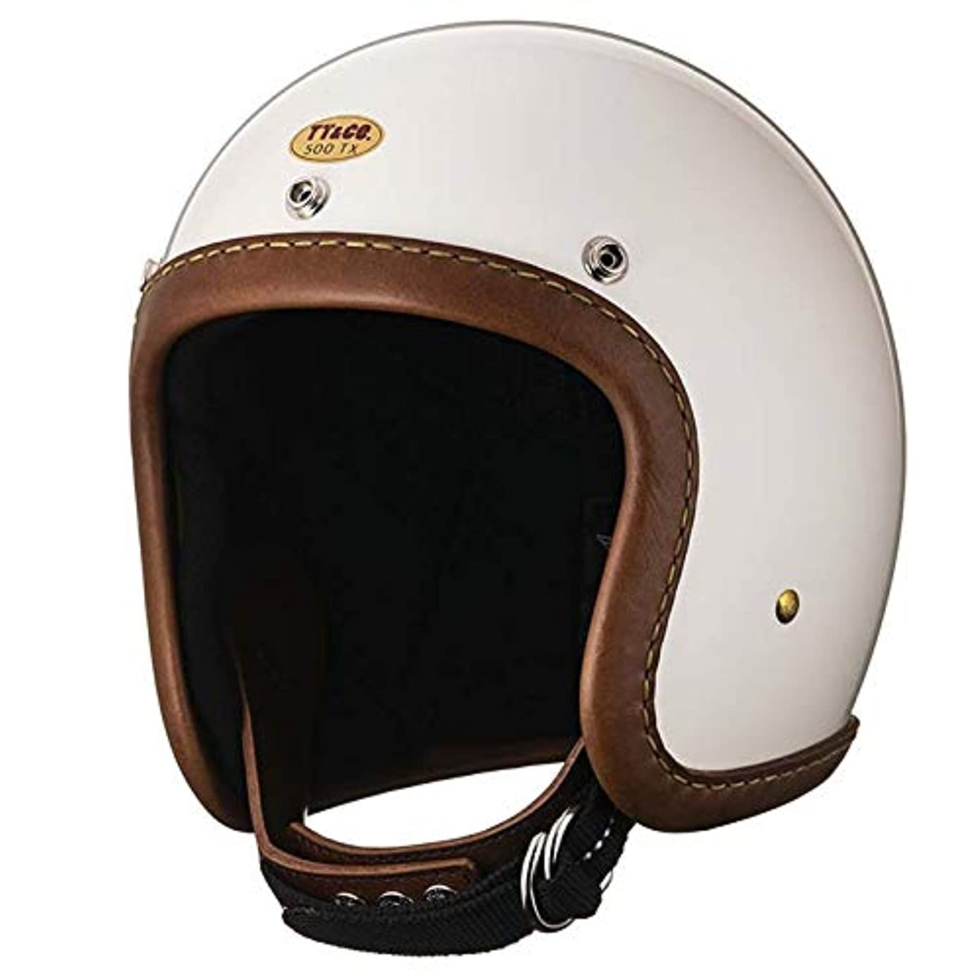 実装する社会南アメリカ公道使用不可 500-TX レザーリムショット ハンドソウン ブラウンレザー アイボリー XS TT&CO. ジェットヘルメット