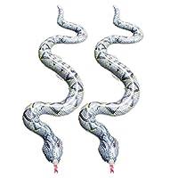 Amosfunシミュレーションヘビpvcインフレータブルボア玩具ハロウィントリックいたずら玩具再利用可能な2ピース