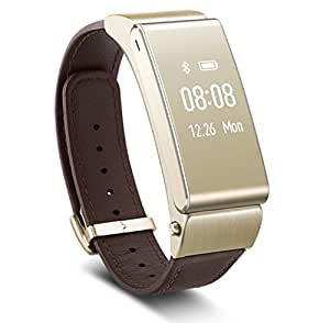 Huawei ウェアラブル 活動量計 タッチスクリーン搭載、ヘッドセットにもなるスマートウォッチ TalkBand B2 ゴールド/本革レザーバンド付属  Talkband B2/golden