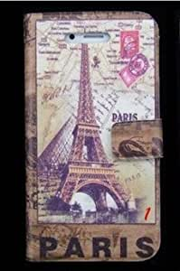 Termichy Brown Vintage Retro Paris France Wallet Style Flip Case with Eiffel Tower and Map Design for Apple Iphone 4s / 4 (At&t, Verizon, Sprint) by Termichy [並行輸入品]