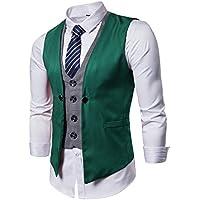 DONSON Mens Business Suit Vest with Neck Tie Slim Fit Waistcoat for Men