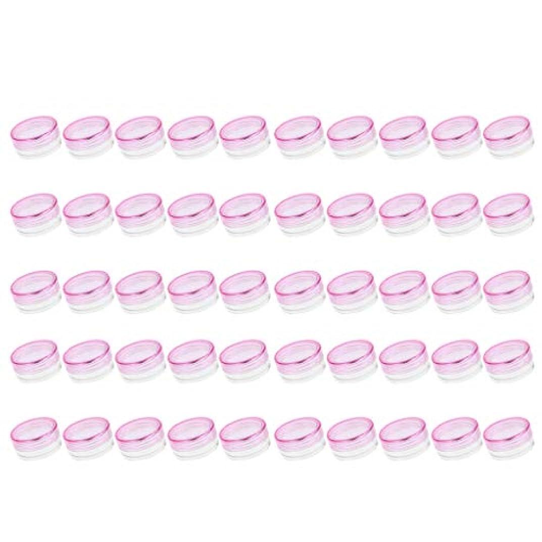鉄道駅スロープ大脳FLAMEER 50個入 クリームケース 空 化粧品瓶 詰替え サンプルボトル 小分け 旅行 蓋付 3g 全6色 - ピンク
