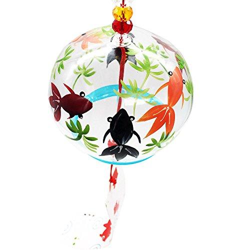 Waltz&F  手描く金魚ガラス風鈴 クリスタルビーズ付き 涼しい 夏 風鈴 納涼 インテリア ウインドチャイム  玄関チャイム