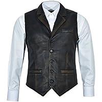 Smart Range Men's 1349 Vintage Black Bronze Stylish Vest 100% Real Leather Waistcoat