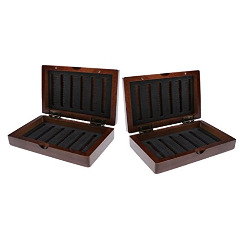 主人フラスコ悪魔2個入り 木製 ルアーボックス ケース タックルボックス フィッシングボックス 乾燥保つ 釣りアクセサリー