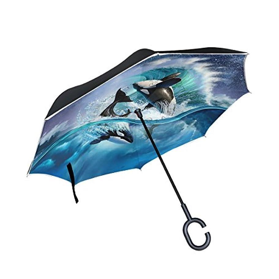 脳眠る交通渋滞逆さ傘 逆傘 長傘 日傘 逆折り式傘 晴雨兼用 梅雨対策 UVカット 耐強風 C型 二重構造 車用 男女兼用 シャチ アート