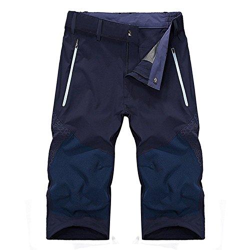 YJ.GWL スポーツウェア アウトドアウェア 登山ズボン クライマーパンツ トレッキングパンツ カジュアル クロップドパンツ 高機能 通気 吸汗 速乾 防撥水 7分丈 ブルー XL