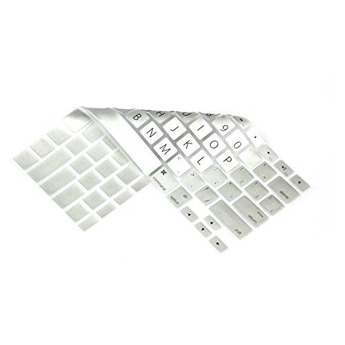 Topfit USキーボード(英語配列)用 MacBook Air Pro Retian13/15インチ対応  新しいカラフルキーボード 防塵 防滴 防水カバー appleノート用 アップル  ノートキーボードカバー  (銀色)