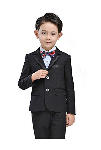 e991bdbee2d46 HIMOE フォーマルスーツ 男の子 子供スーツ 長袖 5点セット ブラック 3色入り 結婚式 発表会 卒業式 入学式 七五三 演出  (16 (身長 155-165cm)
