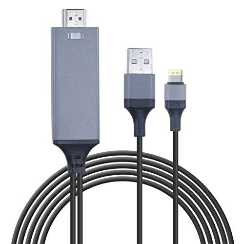 iOS11対応 Lightning HDMIケーブル 設定不要 高解像度 タイムラグなし 音声同期出力 iPhone iPad iPod HDMI変換ケーブル 変換アHDMIダプター ライトニングケーブル ミラーリング HDMI & USB & Lightning ケーブル 2M ブラック