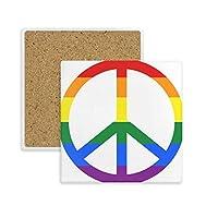 Rainbow Gay Lesbian Anti War LGBT正方形コースターカップマグホルダー吸収性ストーンDrinks 2個のギフト