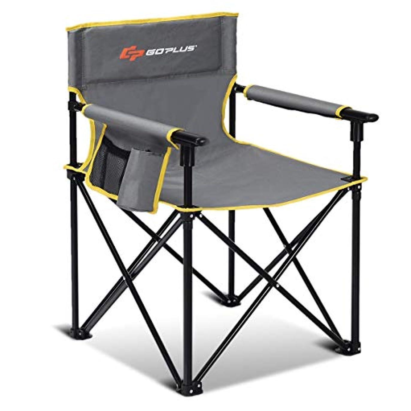元気なかなりのリハーサルGoplus 折りたたみキャンプチェア ポータブルスポーツチェア 収納ポーチ付き アウトドア用キャリーバッグ 300ポンドサポート グレー