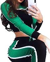 Fly Year-JP レディースロングスリーブフーディー株式会社トップ+パンツ2ピース衣装セット Green M