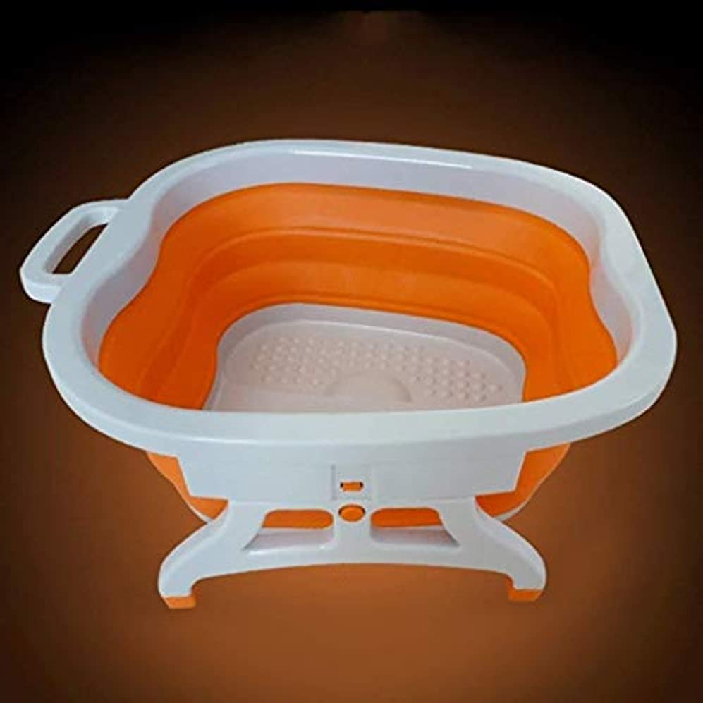 トンネル過敏なニックネームフットバスバレル、スクエア発泡プラスチックボウル、取っ手付きポータブルフットバスバレル、多機能、折り畳み式 (Color : オレンジ)