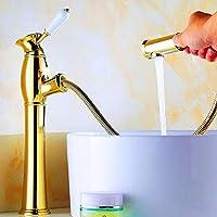 レトロな蛇口 引き出せる 伸縮 台所の蛇口 シングルレバーワンホール アンティーク レトロ スタイル ホットおよびコールド調整が可能 極細水 節水 操作が簡単で安全 浴室の浴室の洗面器の台所のため