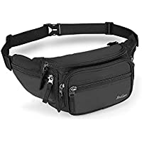 ProCase Fanny Pack Waist Packs for Men Women, Large Capacity Waist Bag Hip Pack for Travel Hiking Running Outdoor Sports-Black