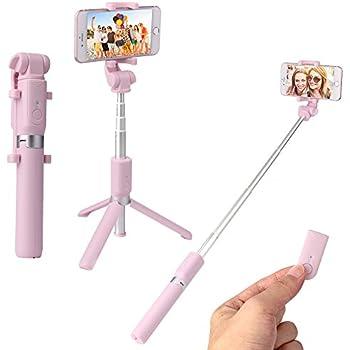 自撮り棒 Bluetooth 三脚 セルカ棒 コンパクト ワイヤレスリモコンシャッター セルフィースティック 伸縮自由 デュアル360度回転 iPhone Android 対応 ピンク(Bピンク)