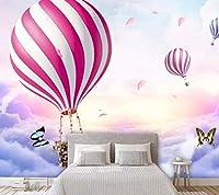 Lcymt カスタム壁紙子供の寝室の壁紙おとぎ話アドベンチャーテーマの背景壁画壁紙大熱気球壁画B-350X250Cm