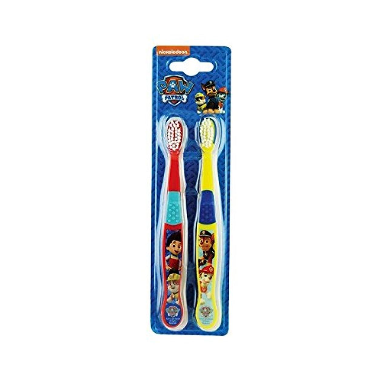 どきどき冗談でセクション1パックツイン歯ブラシ2 (Paw Patrol) - Paw Patrol Twin Toothbrush 2 per pack [並行輸入品]
