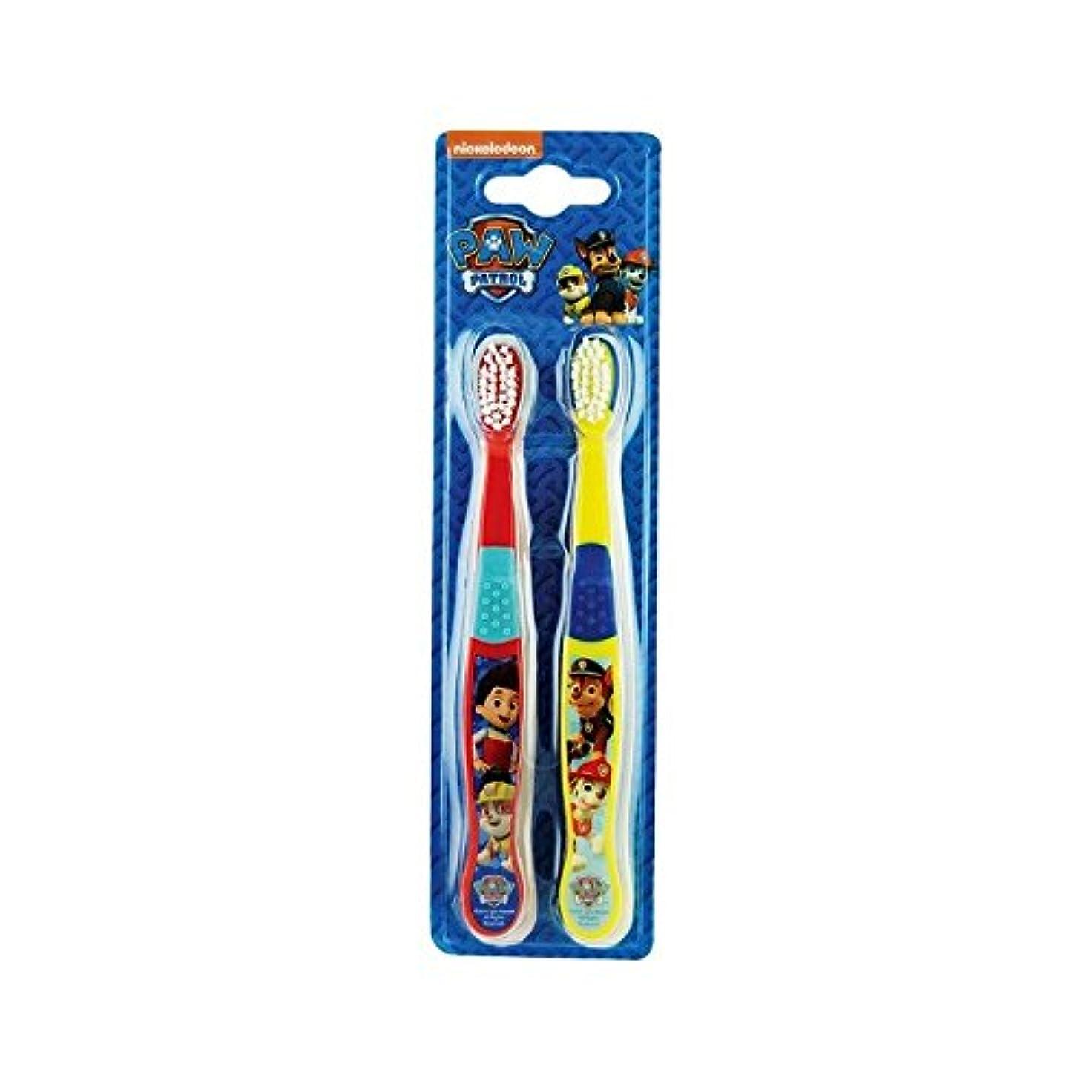 滑りやすいさびた気づかない1パックツイン歯ブラシ2 (Paw Patrol) - Paw Patrol Twin Toothbrush 2 per pack [並行輸入品]
