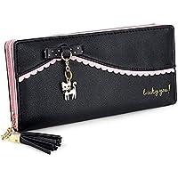 YaJaMa Women Long Wallet Cut Cat PU Leather Clutch Cellphone Case Card Slots Holder Zipper Pocket Purse