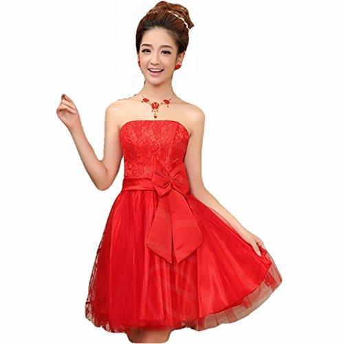パーティー 結婚式 ドレス ( 赤 フリーサイズ )( パー...