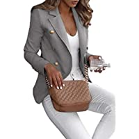 neveraway Women OL Slim Fitted Plus-Size Notch Lapel Double Button Jackets