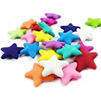 10pc Large Silicone Five-pointed Star Beads Teether More Than 5 Colors Mixed Colors Diy Necklace Bracelet by LOVEBABY