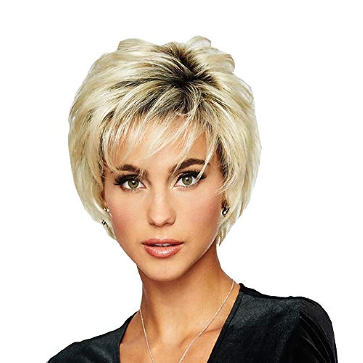 計算子比べるWASAIO レディースファッションショートビッグウェーブヘアー耐熱ウィッグ (色 : Blonde)
