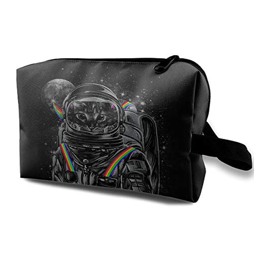 資金完璧盗賊Astronaut Cat Cool Rainbow 収納ポーチ 化粧ポーチ 大容量 軽量 耐久性 ハンドル付持ち運び便利。入れ 自宅?出張?旅行?アウトドア撮影などに対応。メンズ レディース トラベルグッズ