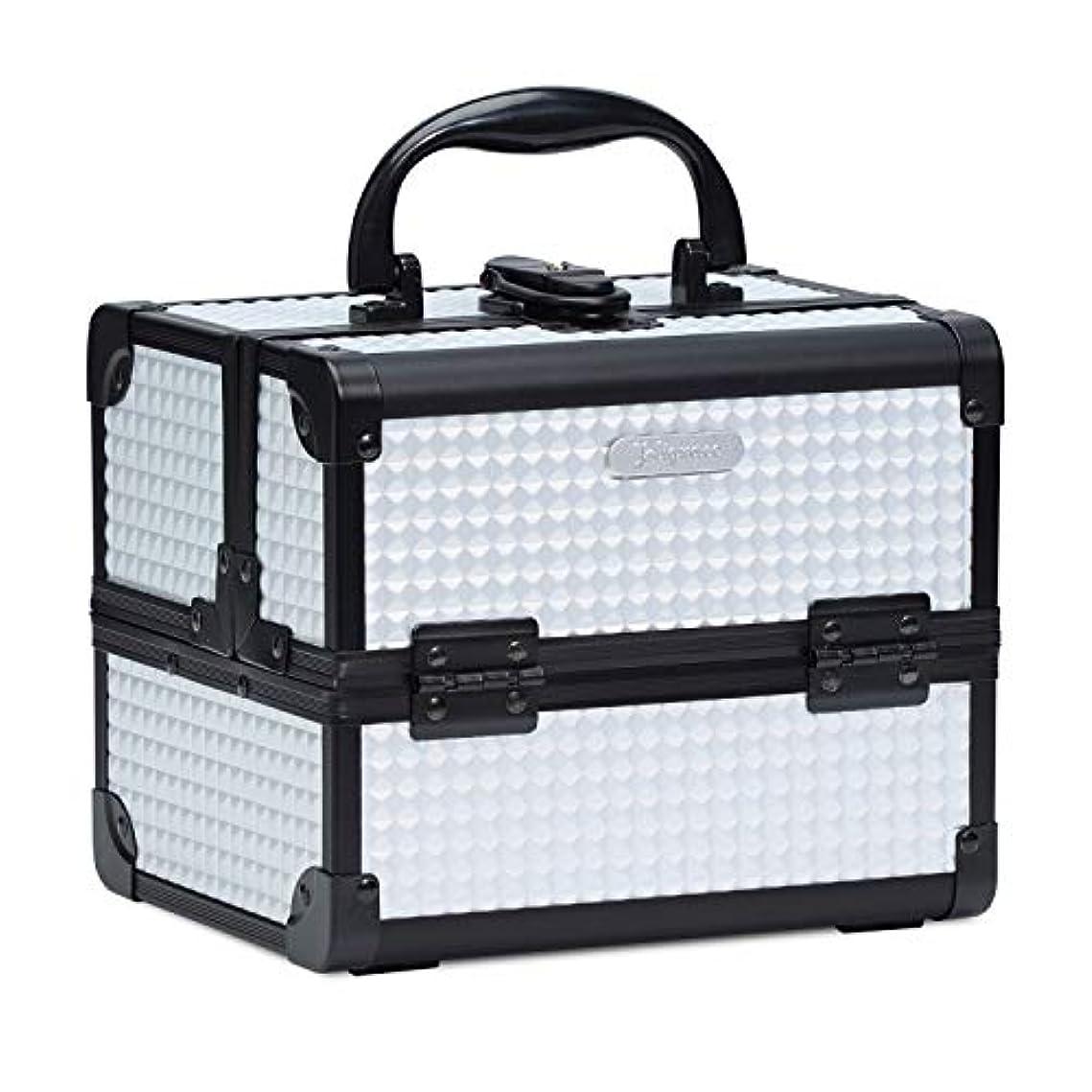 バーガー個性思い出させるHapilife コスメボックス 鏡付き スライドトレイ メイク用品収納 プロ仕様 小型 化粧箱