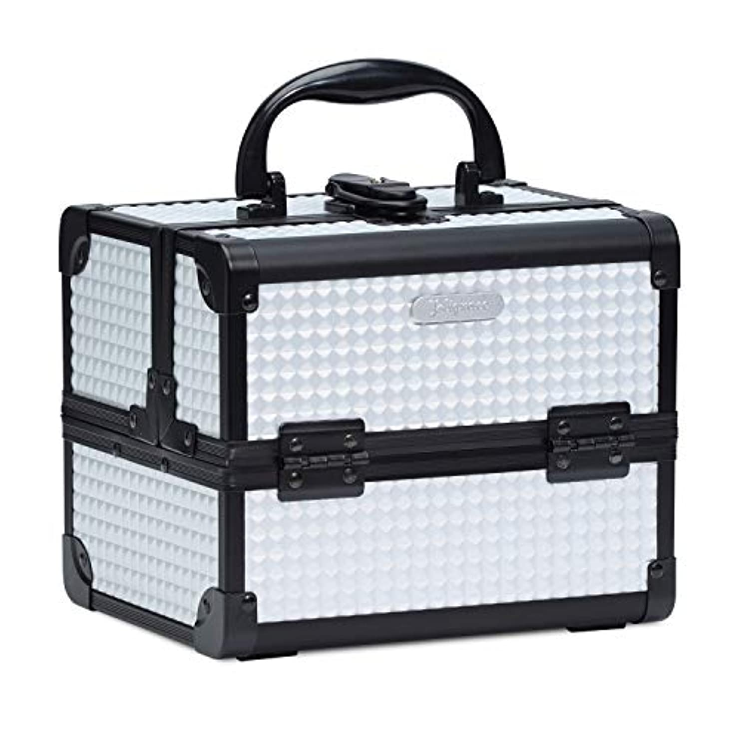 凝視自然可塑性Hapilife コスメボックス 鏡付き スライドトレイ メイク用品収納 プロ仕様 小型 化粧箱