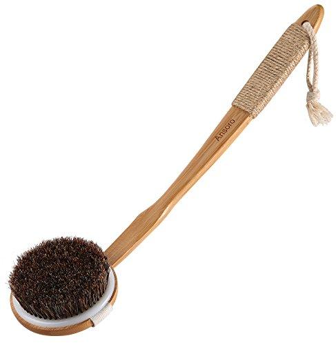 ボディブラシ 天然素材100% 馬毛 背中ブラシ 楠竹製 カーブしている長柄 滑り止め 取り外し可能なブラシ 角質除去 体洗いブラ Ansoro