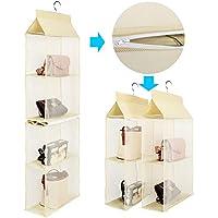 バッグ 収納ラック ハンガー付き 4段吊り下げ 衣類ラック クローゼット 収納ラック 吊り下げ 透明 バッグ かばん収納ラック クローゼット用 型崩れ防止 取り外し可能